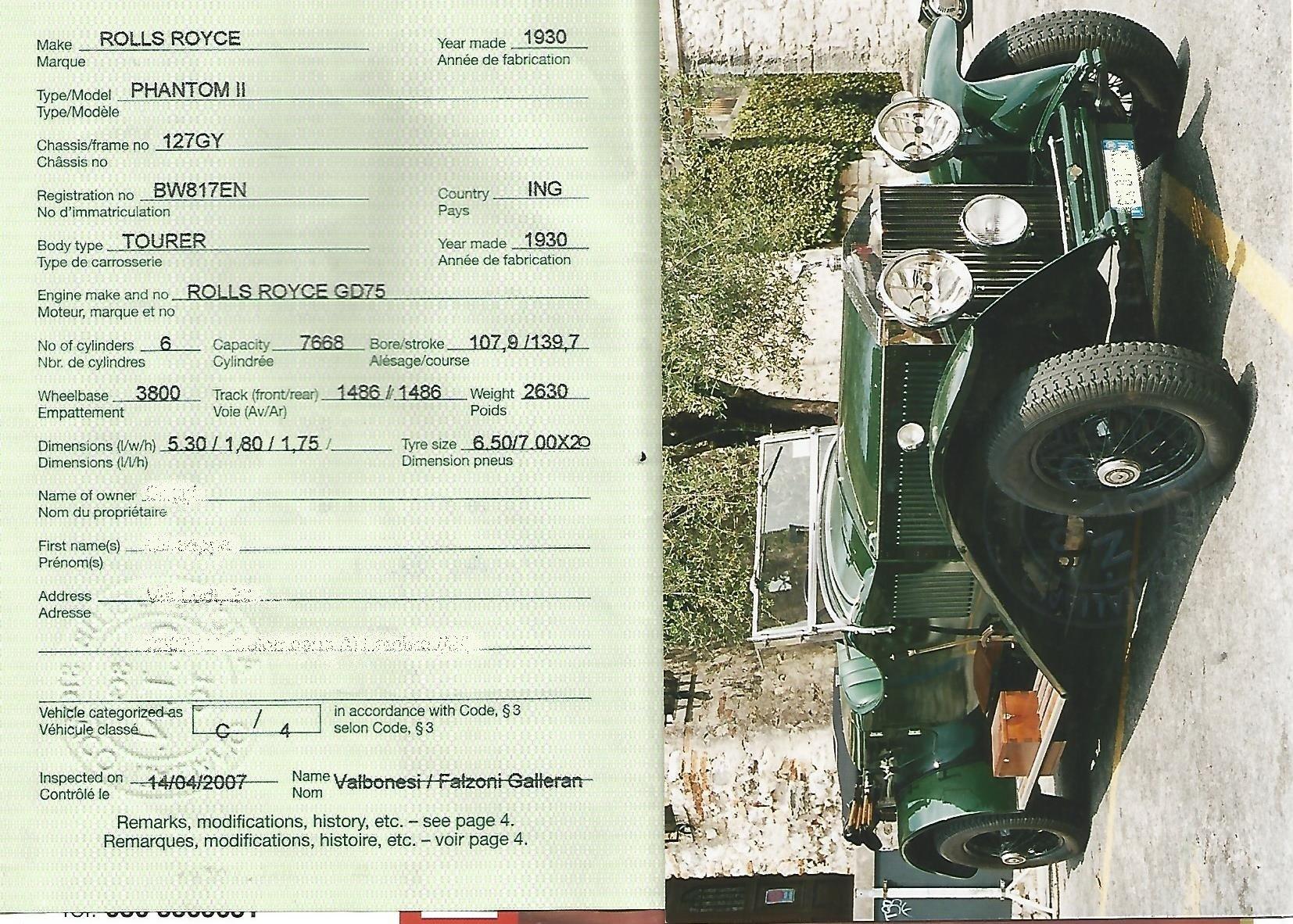 1930 ROLLS ROYCE PHANTOM II SPORT TOURER For Sale (picture 6 of 6)