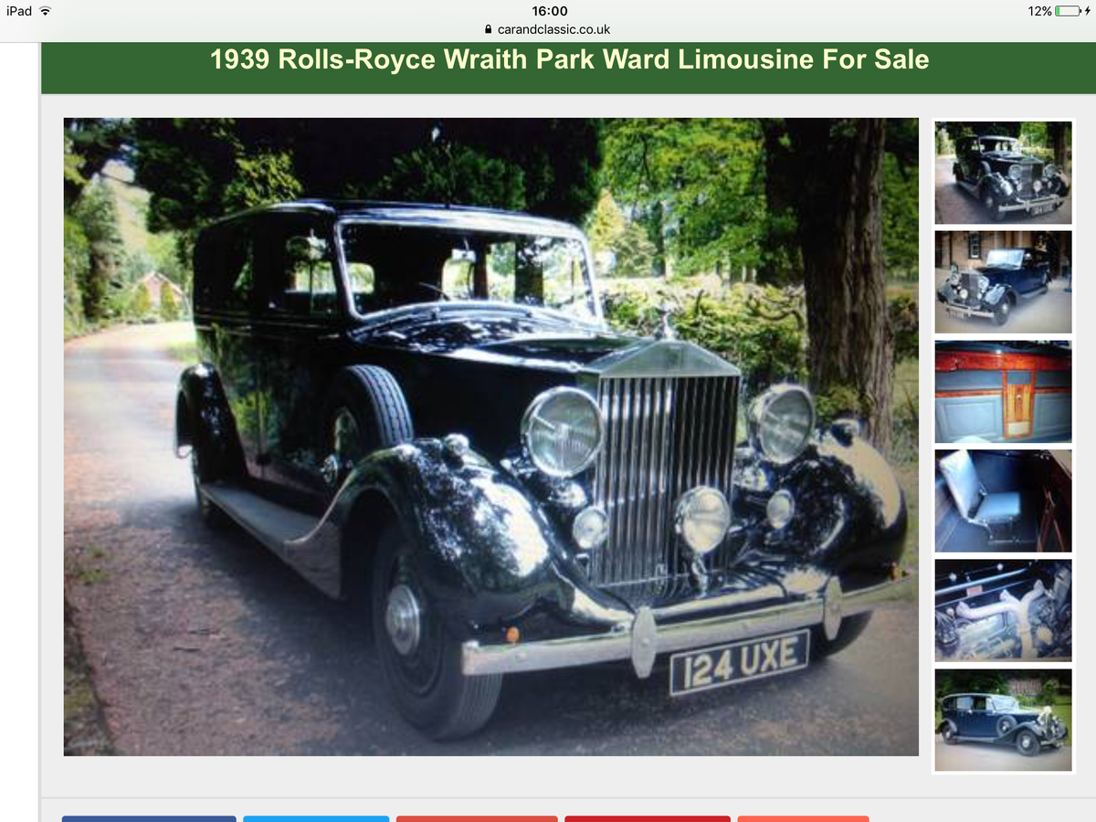 1938 1939 Rolls Royce 25/30 Wraith Park Ward Limousine SOLD (picture 1 of 6)