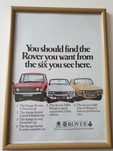 1970 Rover Advert Original