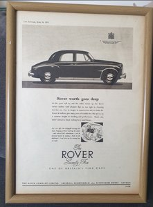 1953 Original Framed Rover Seventy Five Advert