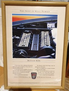 1986 Original Rover 820i Framed Advert