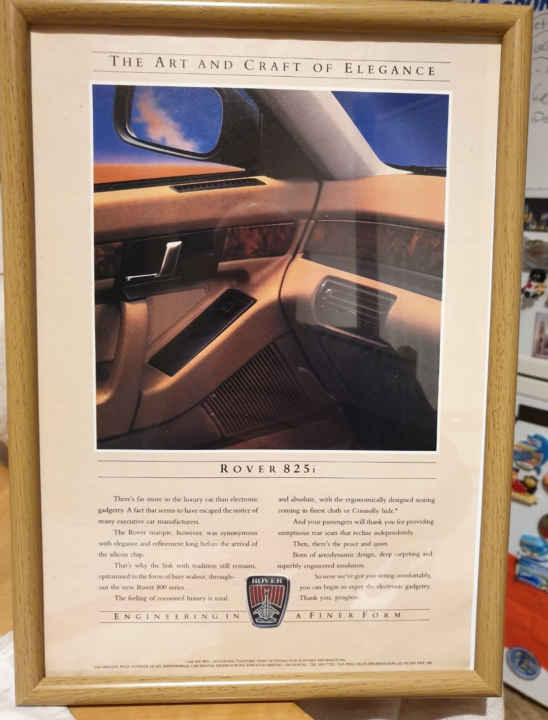 1986 Original Rover 825i Framed Advert For Sale (picture 1 of 2)