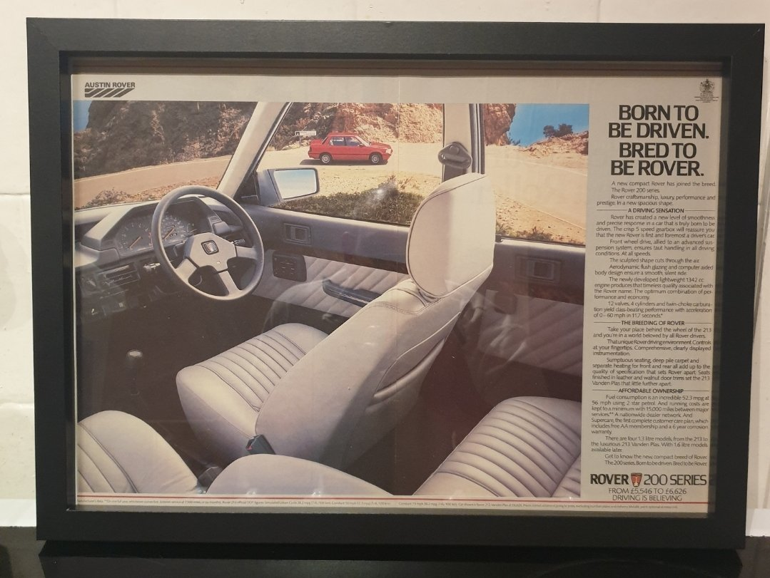 1984 Rover 200 Framed Advert Original  For Sale (picture 1 of 2)