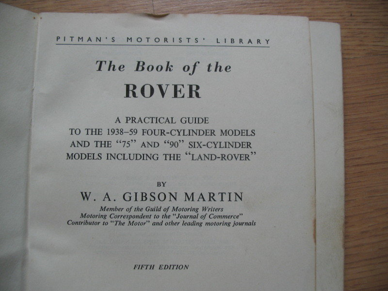 Rover- 'Pitmans' Workshop Manual covers early cars SOLD (picture 2 of 4)