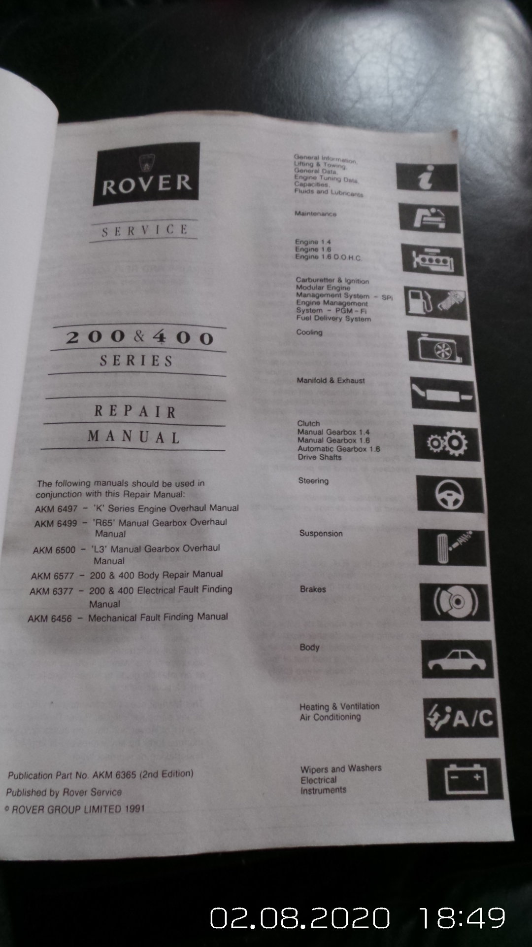 Rover 400 workshop manual For Sale (picture 3 of 3)
