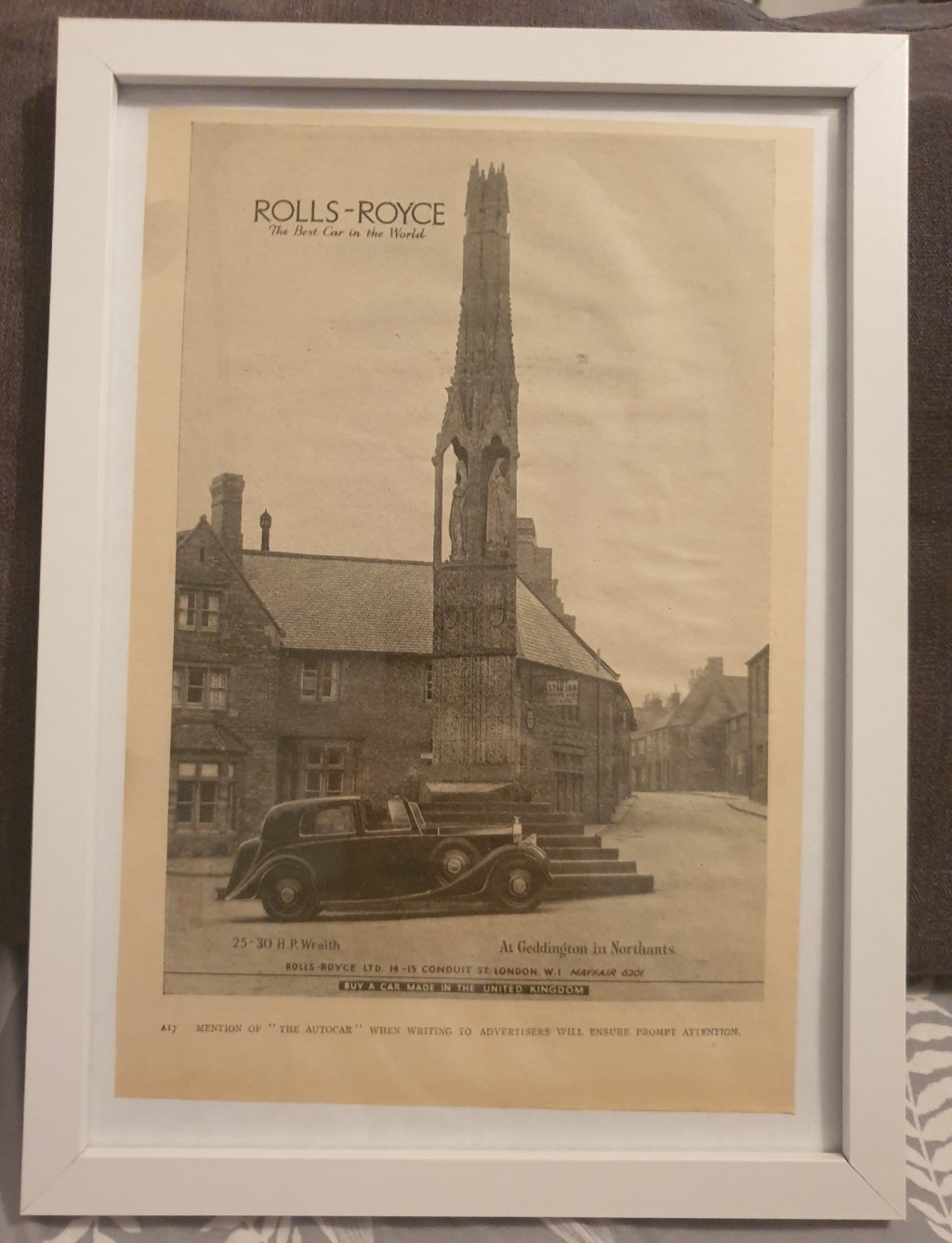 1971 Original 1939 Rolls-Royce Wraith Framed Advert  For Sale (picture 1 of 3)