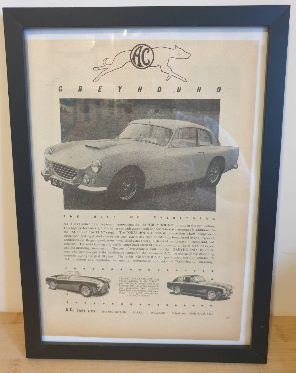 1986 Original 1960 AC Greyhound Framed Advert  For Sale (picture 1 of 3)