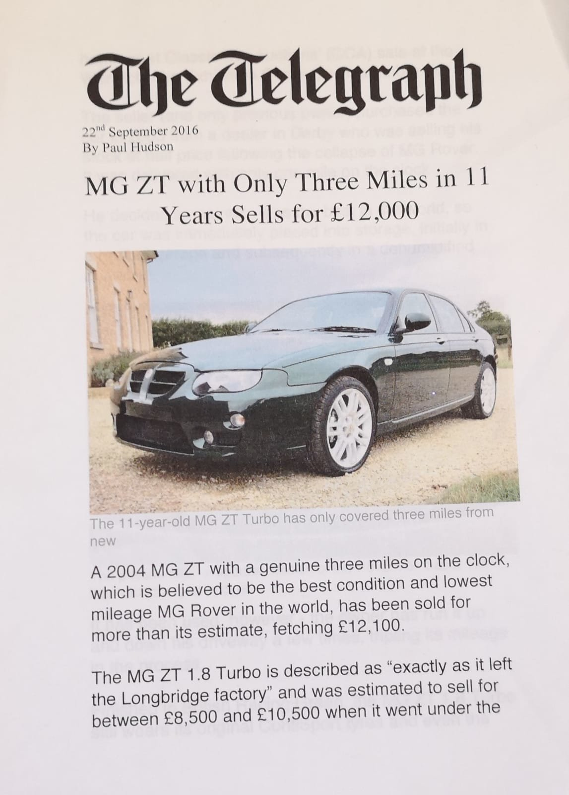 2004 MG ZT British motoring History.  Genuine 6 miles only For Sale (picture 3 of 4)