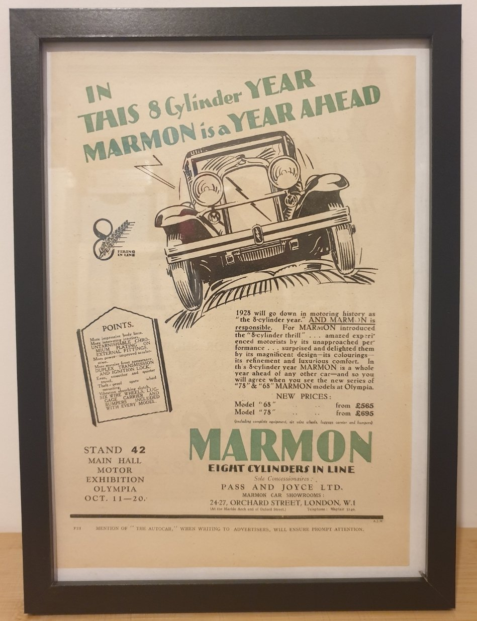 Original 1928 Marmon Framed Advert