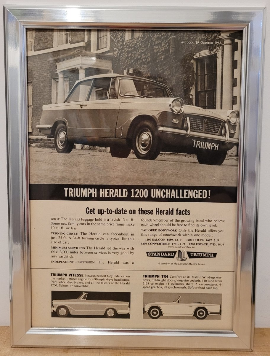 1986 Original 1962 Triumph Herald Framed Advert For Sale (picture 1 of 3)