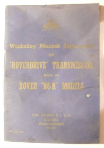1957 WORKSHOP MANUAL ROVER 105R For Sale (picture 1 of 3)