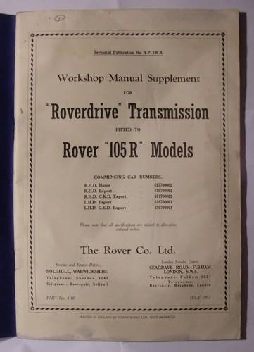 1957 WORKSHOP MANUAL ROVER 105R For Sale (picture 2 of 3)