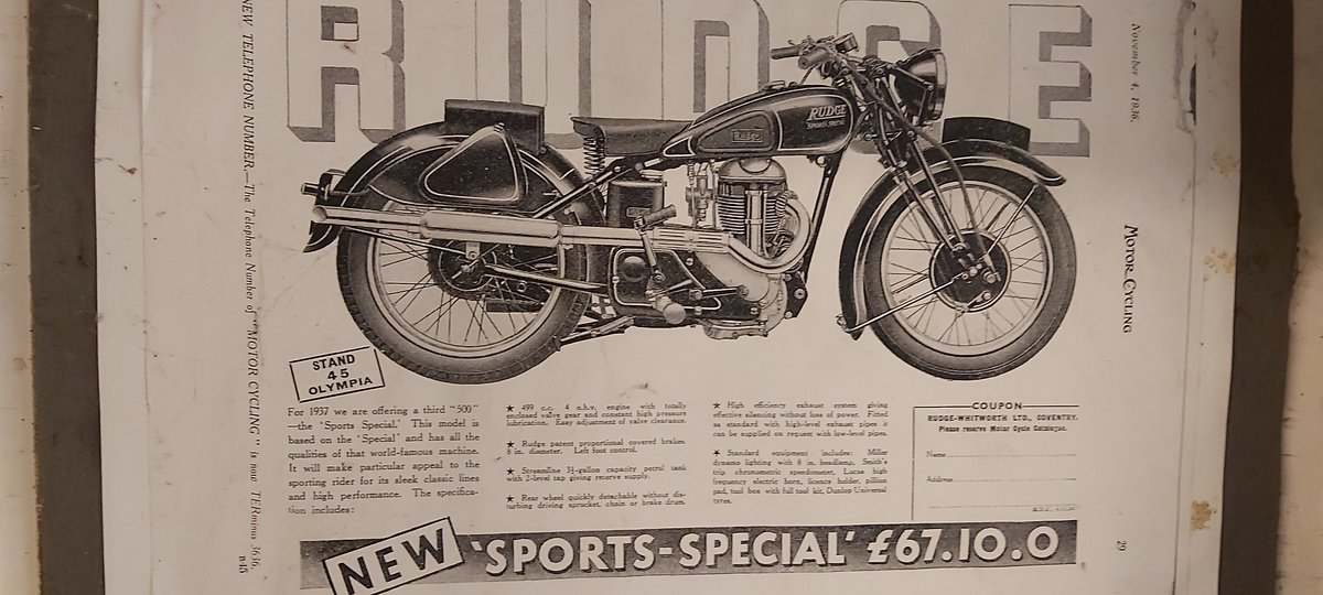 1938 Rudge  project  500cc  Sports  Special For Sale (picture 1 of 1)