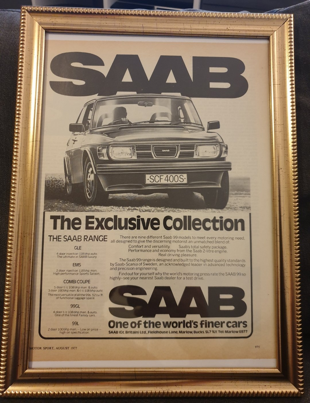 1977 Original Framed Saab 99 Advert For Sale (picture 1 of 2)