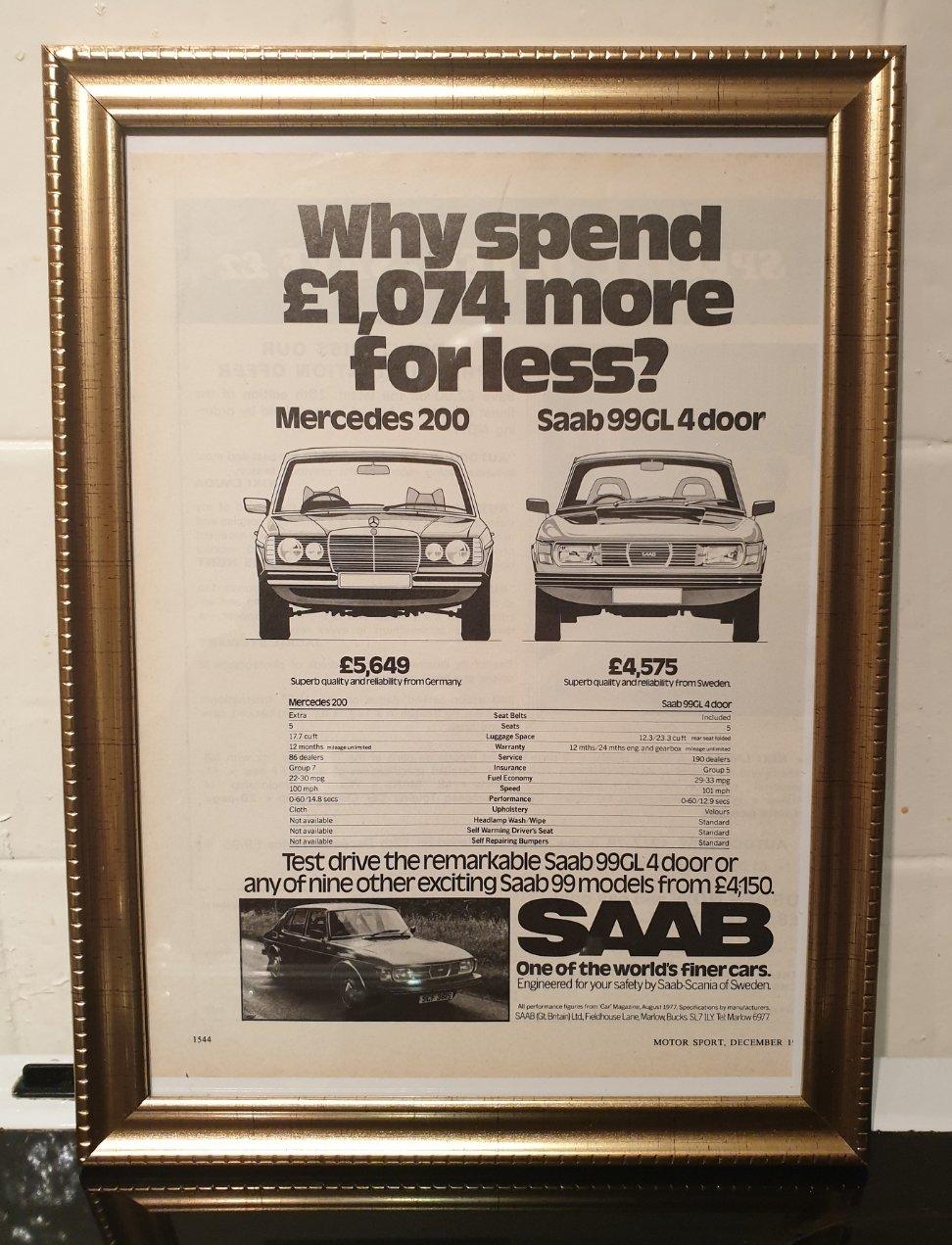 1977 Original Saab 99 Framed Advert For Sale (picture 1 of 2)
