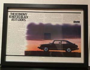 1981 Saab 900 Turbo Framed Advert Original
