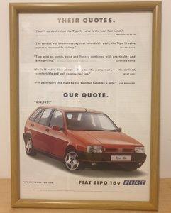 Original 1992 Fiat Tipo Framed Advert