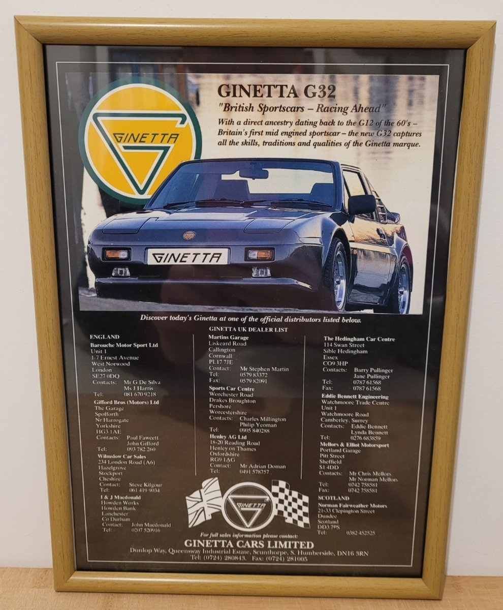 1988 Original 1991 Ginetta G32 Framed Advert For Sale (picture 1 of 3)