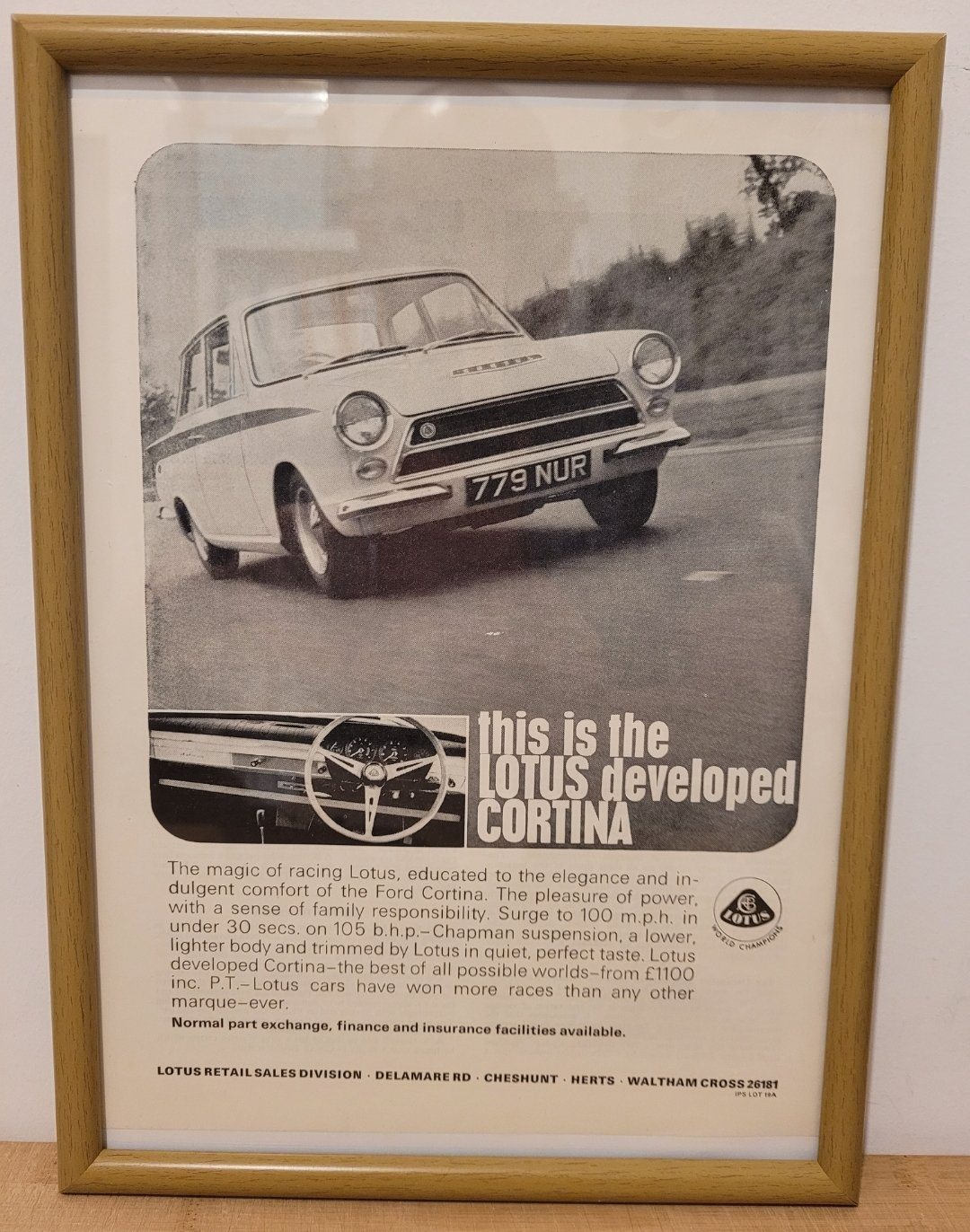 Picture of 1981 Original 1964 Ford Cortina Lotus Framed Advert