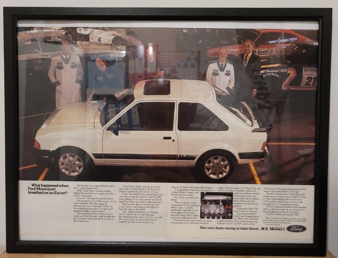 Original 1983 Ford Escort RS1600i Framed Advert