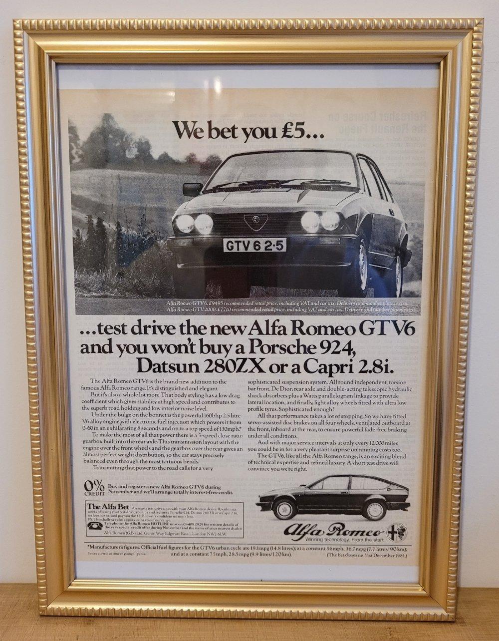 Original 1980 Alfa GTV6 Framed Advert