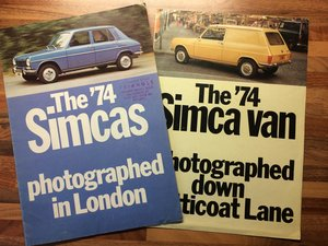 Simca 1000 LS, Rallye, GLS, Van,1301, 1501 brochur For Sale