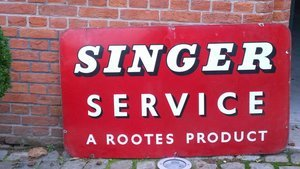 Original and very rare enamel SINGER sign