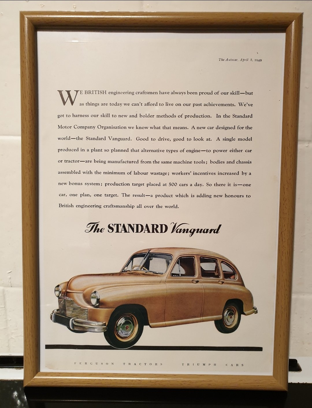 1949 Standard Vanguard Framed Advert Original  For Sale (picture 1 of 2)