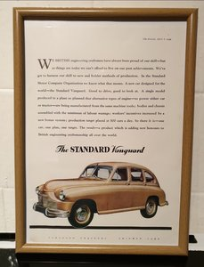 Standard Vanguard Framed Advert Original