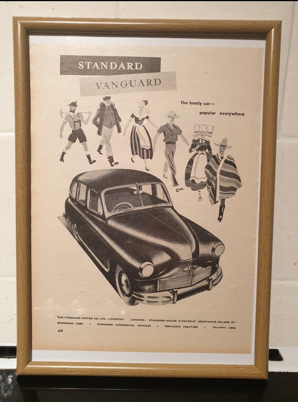 1949 Standard Vanguard Framed Advert Original  For Sale (picture 1 of 2)