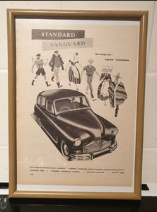 1949 Standard Vanguard Framed Advert Original