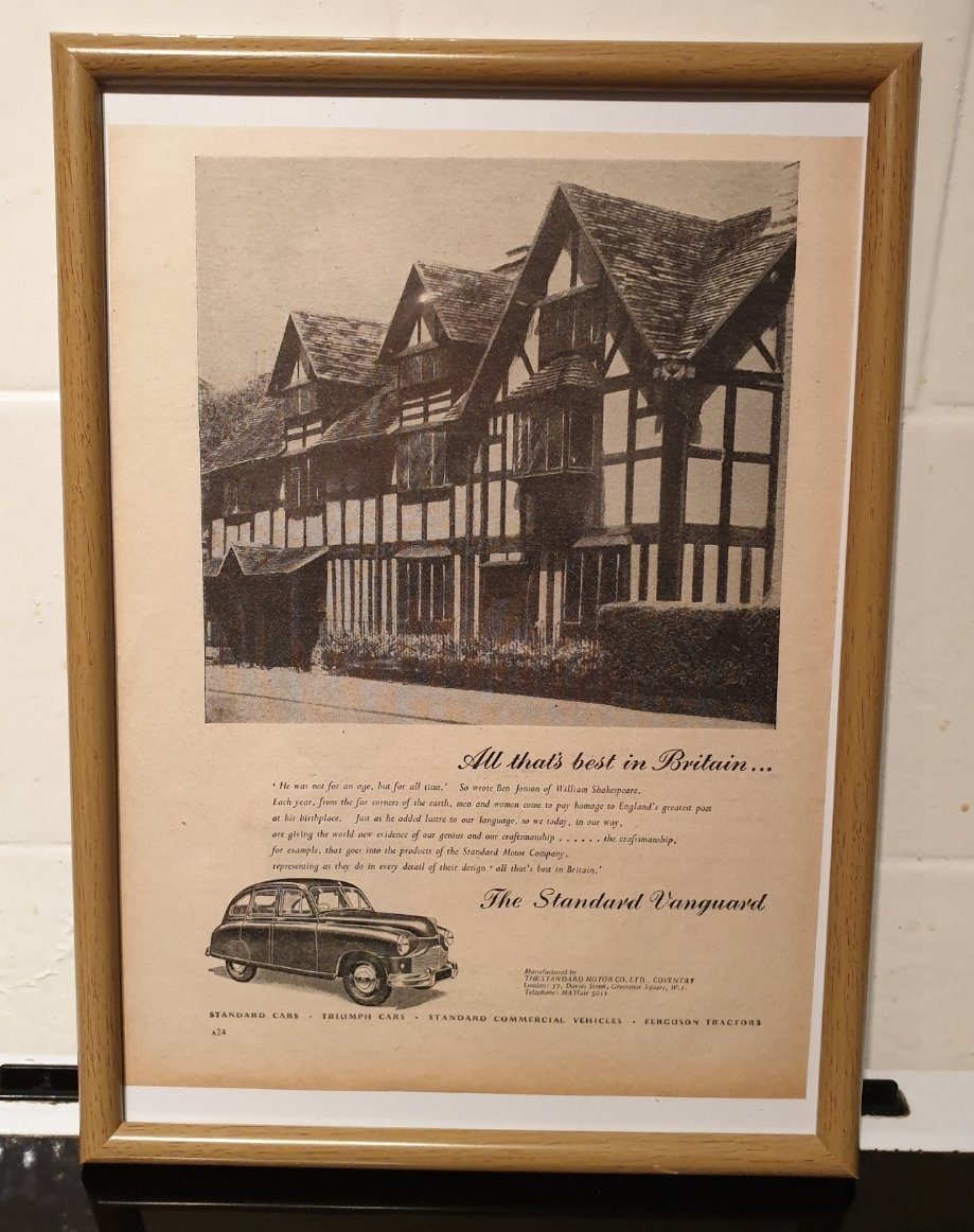 1951 Standard Vanguard Framed Advert Original  SOLD (picture 1 of 2)