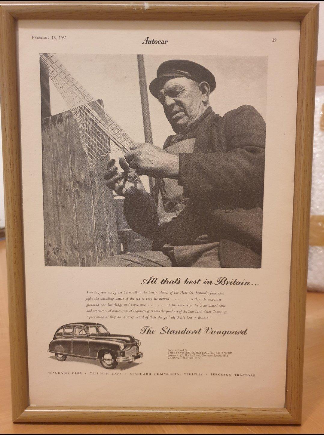 1951 Standard Vanguard Framed Advert Original  For Sale (picture 1 of 2)