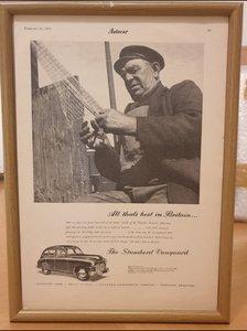 1951 Standard Vanguard Framed Advert Original