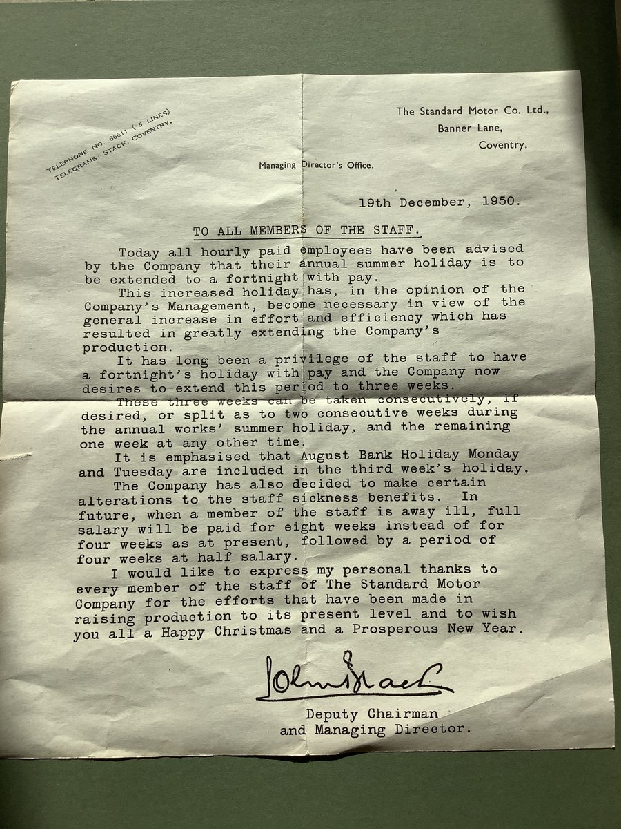 Standard motor company letter original For Sale (picture 1 of 2)