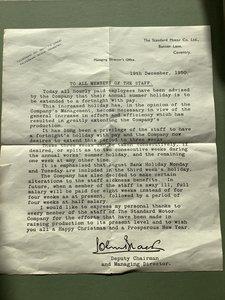 Standard motor company letter original