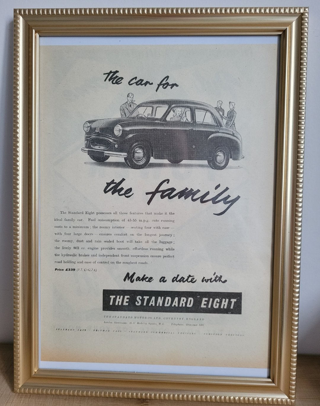 Picture of 1949 Original 1954 Standard Eight Framed Advert