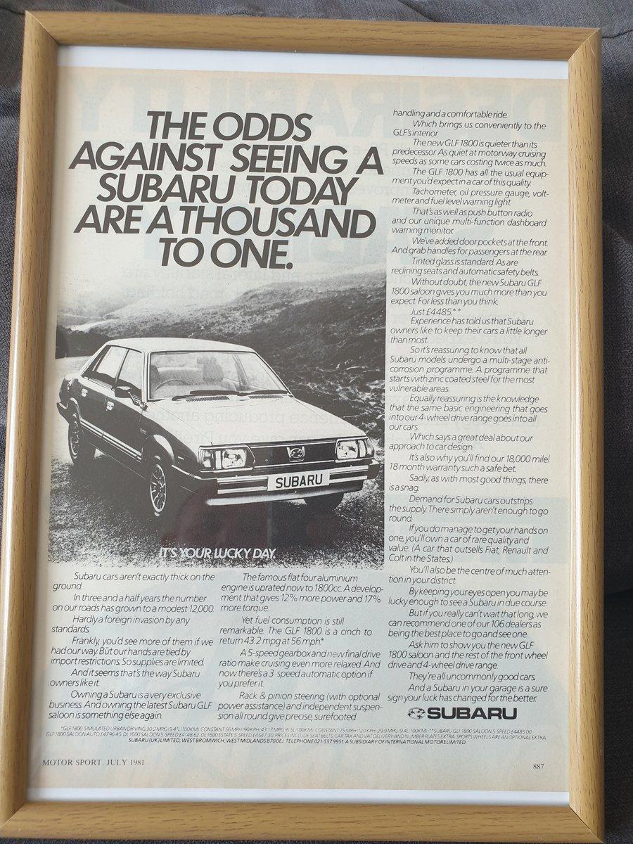 1981 Original Subaru GLF advert For Sale (picture 1 of 2)