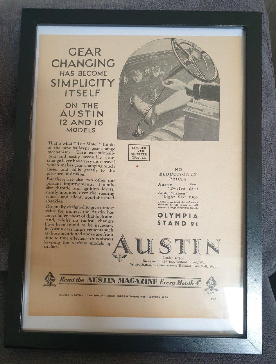 1983 Original 1929 Austin Framed Advert  For Sale (picture 1 of 3)
