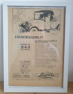 1983 Original 1922 Lagonda Framed Advert