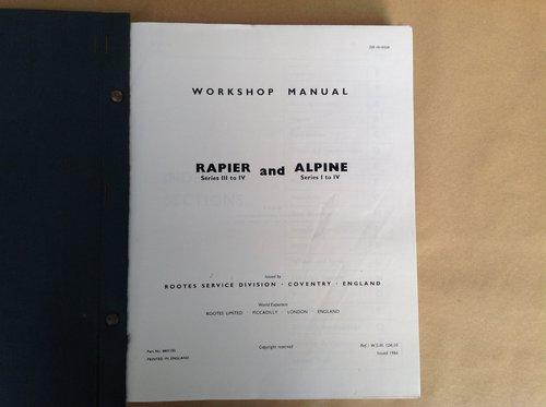 Sunbeam Rapier & Alpine Rootes Workshop Manual  For Sale (picture 2 of 4)