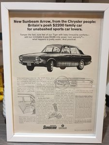 Original 1967 Sunbeam Arrow Framed Advert