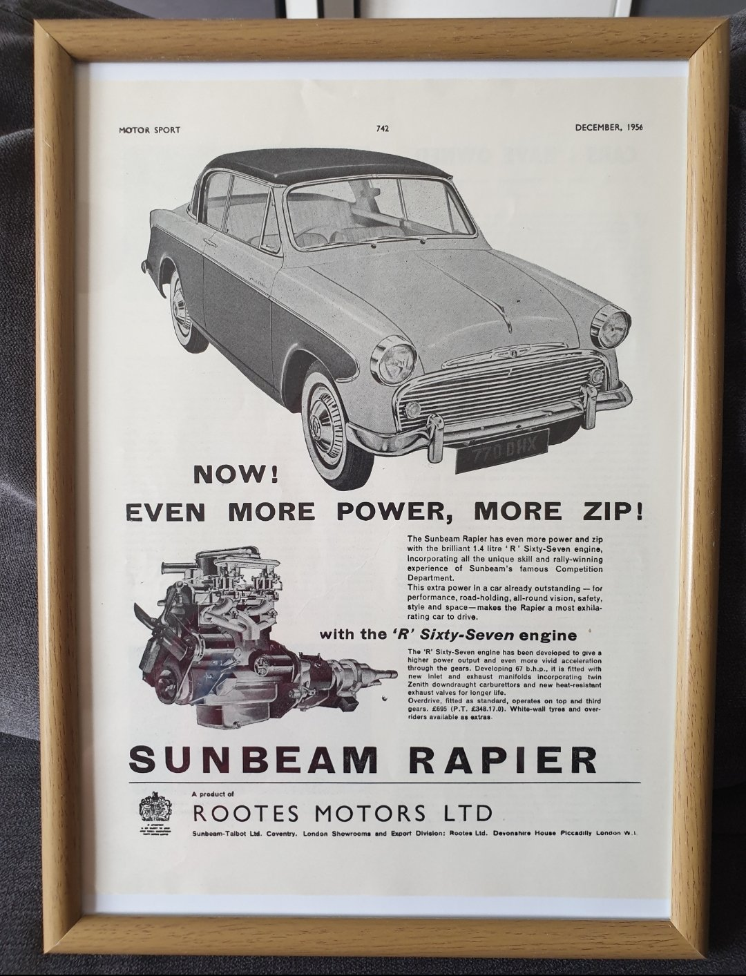1956 Sunbeam Rapier Advert Original For Sale Car And Classic