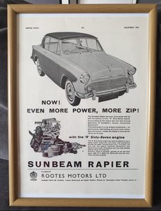 1956 Sunbeam Rapier advert Original