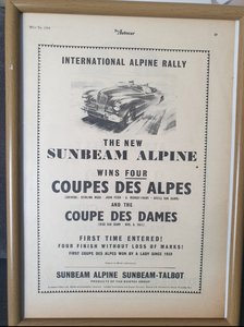 1953 Sunbeam Alpine Advert Original