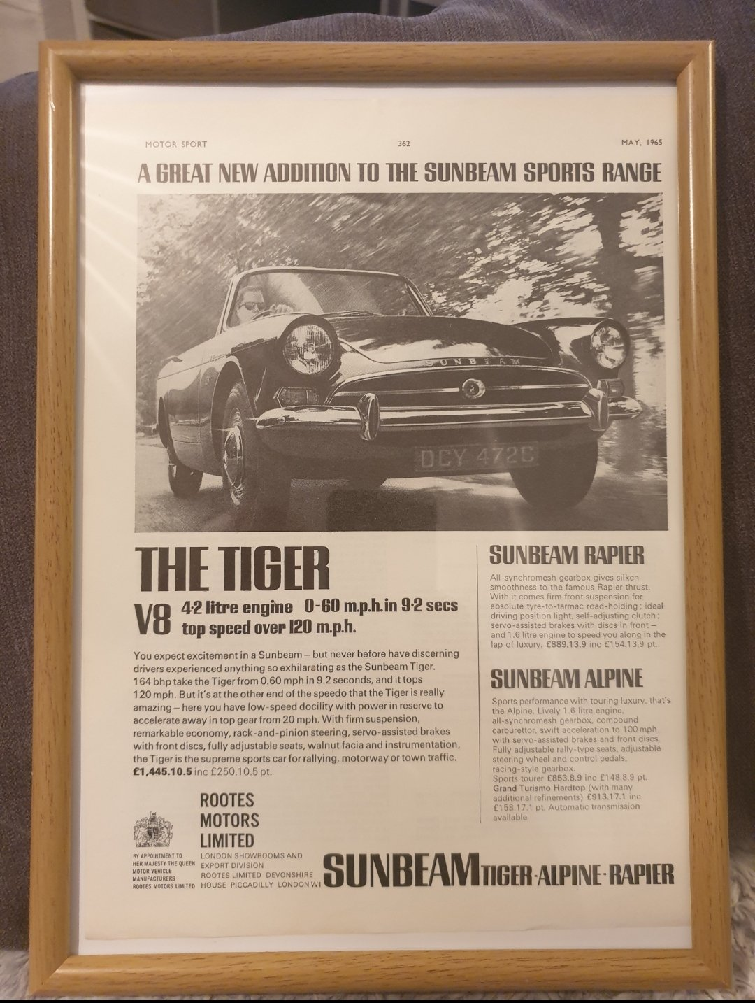 1965 Original Sunbeam Tiger Advert For Sale (picture 1 of 2)