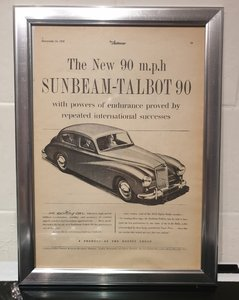 Original Framed Sunbeam-Talbot 90 Advert