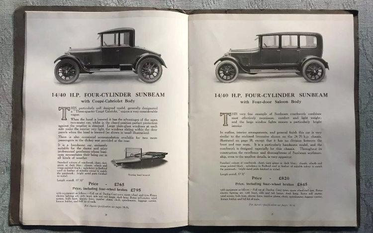 1920 Sunbeam Range Brochure For Sale (picture 3 of 5)
