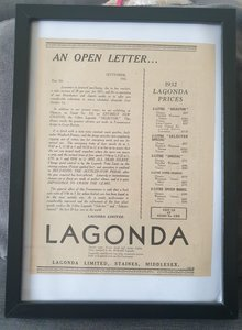 Original 1931 Lagonda Framed Advert