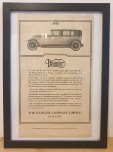 Original 1928 Daimler Framed Advert
